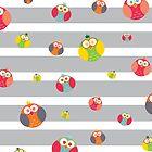 Colorful Little Owls by Jeri Stunkard