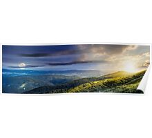 hillside panorama in Carpathian mountains Poster