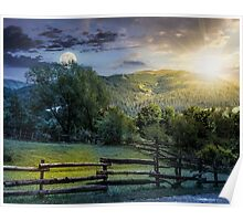wooden fence on hillside at sunset Poster