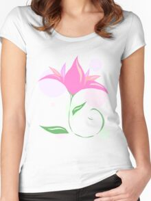 Simple Flower Women's Fitted Scoop T-Shirt