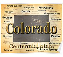 Aged Colorado State Pride Map Silhouette  Poster