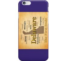 Aged Delaware State Pride Map Silhouette  iPhone Case/Skin