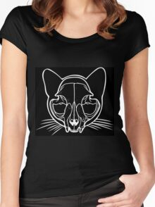 Cat Skull in White Women's Fitted Scoop T-Shirt