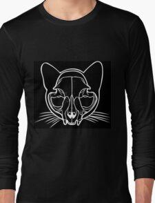 Cat Skull in White Long Sleeve T-Shirt