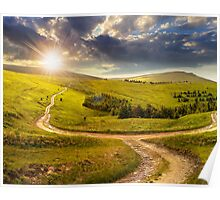 cross road on hillside meadow in mountain at sunrise at sunset Poster