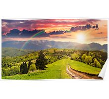 road through the meadow on hillside at sunset Poster