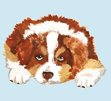 Red Tri Australian Shepherd Puppy by Barbara Applegate