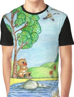 Bear With Flowers Graphic T-Shirt