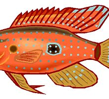 Red Cichlid Fish by kwg2200