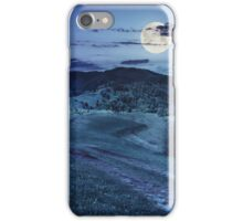 road on hillside meadow in mountain at night iPhone Case/Skin