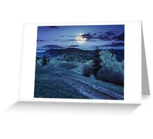 road on hillside meadow in mountain at night Greeting Card