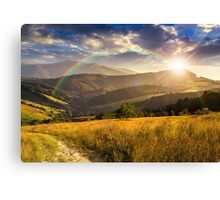 path on hillside meadow in mountain at sunset Canvas Print