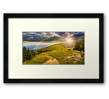 pine trees near valley in mountain at sunset Framed Print