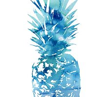 Blue watercolour pineapple by float