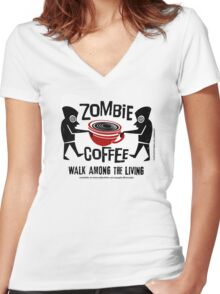 Zombie Coffee Retro T-shirt original design Women's Fitted V-Neck T-Shirt