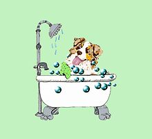 "Red Merle Aussie ""Rub-A-Dub-Dub"" by Barbara Applegate"