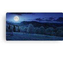 fence on hillside meadow in mountain at night Canvas Print