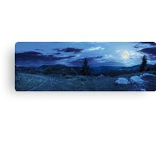 boulders on hillside meadow in mountain at night Canvas Print