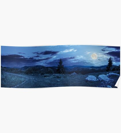 boulders on hillside meadow in mountain at night Poster