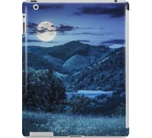 pine trees near meadow in mountains at night iPad Case/Skin