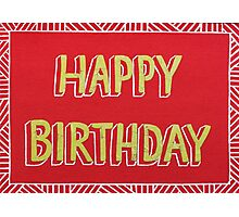 Red and Lime Green Happy Birthday Card Cut-out Design Photographic Print