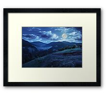 flowers on hillside meadow in mountain at night Framed Print