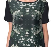 Deep Green Baby's Breath Forest Chiffon Top