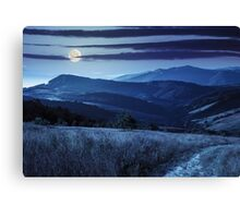 path on hillside meadow in mountain at night Canvas Print