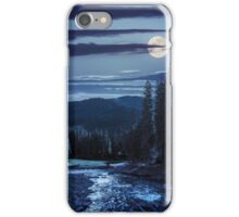 Mountain river in pine forest at night iPhone Case/Skin