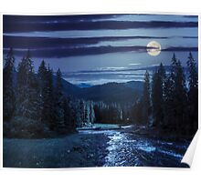 Mountain river in pine forest at night Poster