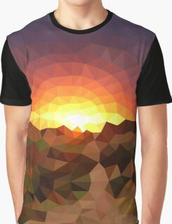 Sunset Mountains - Crystallized Art Effect Graphic T-Shirt
