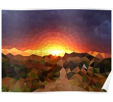Sunset Mountains - Crystallized Art Effect Poster