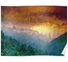 Afternoon Forest , Mountains Painting - Crystallized Art Effect Poster