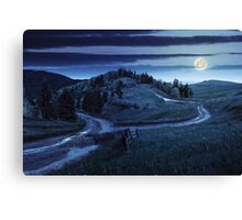 cross road on hillside meadow in mountain at night Canvas Print