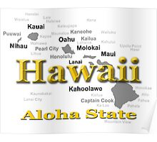 Hawaii State Pride Map Silhouette  Poster