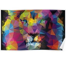 Lion's Face Painting - Crystallized Art Effect Poster