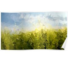 Green Fields Blue Sky Meadow - Crystallized Art Effect Poster