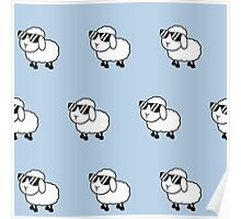 Cool sheep in sunglasses,baby blue background,kid,kids,cute,sheets,sheep,sunglasses, Poster