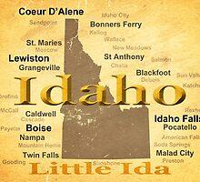 Aged Idaho State Pride Map by KWJphotoart