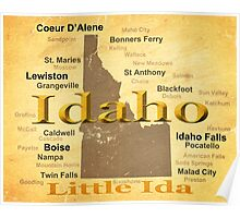 Aged Idaho State Pride Map Poster