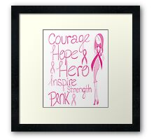 Breast Cancer Awareness Pink October Health Courage Hope Hero Inspire Strength Ribbon Nurse Doctor Oncology Survivor Ta-tas Mammogram Pink Ribbon Mother Mom Daughter Aunt Sister Friend Framed Print