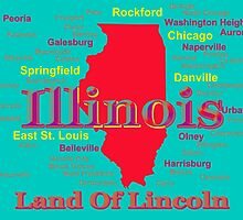 Colorful Illinois State Pride Map by KWJphotoart
