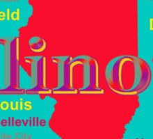 Colorful Illinois State Pride Map Sticker