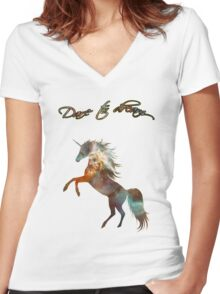 Magic Space Unicorn Dictionary Art Women's Fitted V-Neck T-Shirt