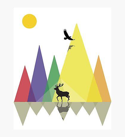 Wild Mountains Landscape Geometric  Photographic Print