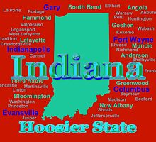 Colorful Indiana State Pride Map by KWJphotoart