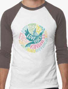 Dove of Peace Lettering Design Men's Baseball ¾ T-Shirt