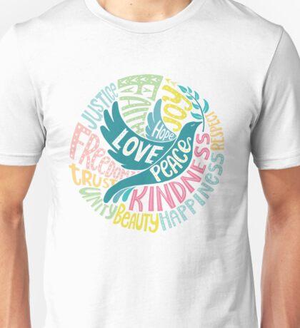 Dove of Peace Lettering Design Unisex T-Shirt
