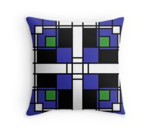 Neoplasticism symmetrical pattern in sapphire blue Throw Pillow
