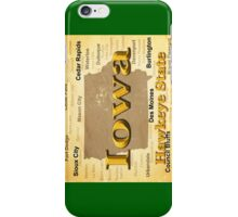 Aged Iowa State Pride Map Silhouette  iPhone Case/Skin